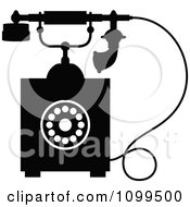 Clipart Retro Black And White Desk Telephone 4 Royalty Free Vector Illustration