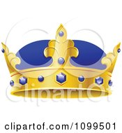 Clipart 3d Blue And Gold Kings Crown With Sapphires Royalty Free Vector Illustration