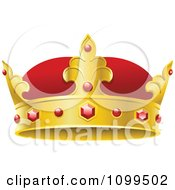 3d Red And Gold Kings Crown With Rubies