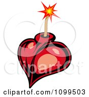 Clipart Red Heart Bomb And Lit Fuse Royalty Free Vector Illustration