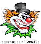 Clipart Grinning Evil Clown Or Joker With A Top Hat Royalty Free Vector Illustration