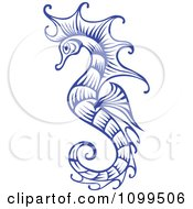 Clipart Ornate Blue Seahorse Royalty Free Vector Illustration by Vector Tradition SM