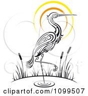 Clipart Wading Tribal Crane And Sunset Royalty Free Vector Illustration