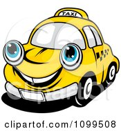 Clipart Happy Yellow Taxi Cab Smiling Royalty Free Vector Illustration