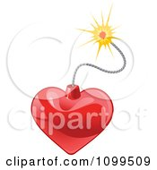 Clipart Shiny Heart Bomb And Lit Fuse Royalty Free Vector Illustration