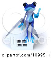 3d Blue Springer Frog Sitting On A Solar Panel Roof House And Holding A Thumb Up