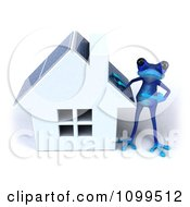 3d Blue Springer Frog Standing By A Solar Panel Roof House