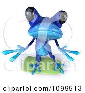 3d Blue Springer Frog Skateboarding And Looking Up