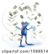 Clipart 3d Blue Springer Frog With Falling Cash 3 Royalty Free CGI Illustration