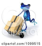 3d Blue Springer Frog Pushing Boxes On A Dolly