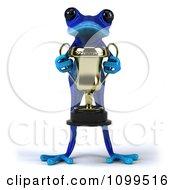 3d Blue Springer Frog Holding A Trophy 1