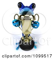 Clipart 3d Blue Springer Frog Holding A Trophy 2 Royalty Free CGI Illustration by Julos