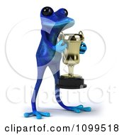 3d Blue Springer Frog Holding A Trophy 3