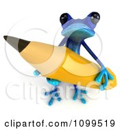 3d Blue Springer Frog Looking Up And Holding A Giant Pencil