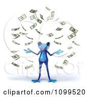 Clipart 3d Blue Springer Frog With Falling Cash 1 Royalty Free CGI Illustration