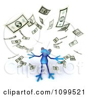 Clipart 3d Blue Springer Frog With Falling Cash 2 Royalty Free CGI Illustration