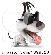 Clipart 3d Happy Jack Russell Terrier Dog Wearing Sunglasses And Walking Royalty Free CGI Illustration