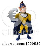 Clipart 3d Male Super Hero Holding A Euro Symbol 1 Royalty Free CGI Illustration