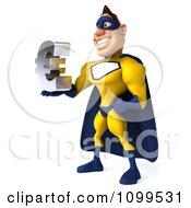 Clipart 3d Male Super Hero Holding A Euro Symbol 2 Royalty Free CGI Illustration