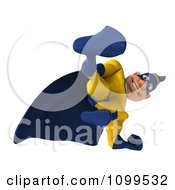 Clipart 3d Super Hero Man Looking Down Royalty Free CGI Illustration