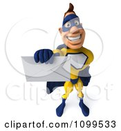 Clipart 3d Super Hero Man Holding Out An Envelope 1 Royalty Free CGI Illustration
