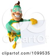 Clipart 3d Super Hero Man In A Green And Yellow Costume With A Sign 10 Royalty Free CGI Illustration