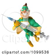 Clipart 3d Super Hero Man In A Green And Yellow Costume Holding A Vaccine Syringe 1 Royalty Free CGI Illustration by Julos