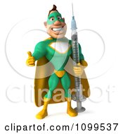 Clipart 3d Super Hero Man In A Green And Yellow Costume Holding A Vaccine Syringe 2 Royalty Free CGI Illustration