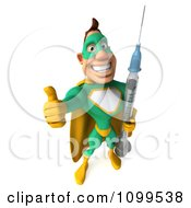 Clipart 3d Super Hero Man In A Green And Yellow Costume Holding A Vaccine Syringe 3 Royalty Free CGI Illustration