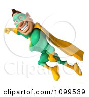Clipart 3d Super Hero Man In A Green And Yellow Costume In Flight 4 Royalty Free CGI Illustration