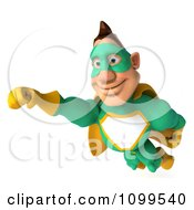 Clipart 3d Super Hero Man In A Green And Yellow Costume In Flight 5 Royalty Free CGI Illustration