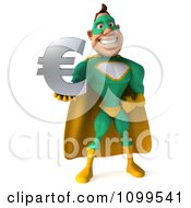 Clipart 3d Super Hero Man In A Green And Yellow Costume Holding A Euro Symbol 1 Royalty Free CGI Illustration
