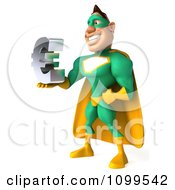 Clipart 3d Super Hero Man In A Green And Yellow Costume Holding A Euro Symbol 2 Royalty Free CGI Illustration