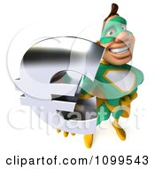 Clipart 3d Super Hero Man In A Green And Yellow Costume Holding A Euro Symbol 3 Royalty Free CGI Illustration