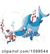 Clipart Swimmer Fighting A Shark With A Knife Royalty Free Vector Illustration