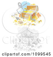 Clipart Colored And Outlined Sunken Treasure Chests With Skeletons Anchors Gold And Coral Royalty Free Illustration