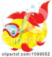 Clipart Cute Yellow And Red Snorkeling Fish Royalty Free Vector Illustration