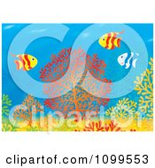 Clipart Striped Tropical Fish Over Colorful Corals At A Reef Royalty Free Illustration by Alex Bannykh