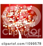 Clipart Seasons Greetings Text With A Snowflake Sparkle Christmas Tree On Red Royalty Free Vector Illustration