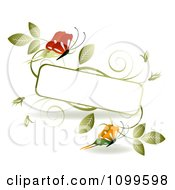 Clipart Red And Orange Butterflies With Green Vinse And A Frame With Copyspace Royalty Free Vector Illustration
