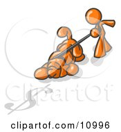 Orange Man Walking A Dog That Is Pulling On A Leash To Sniff A Shadow Of A Dollar Sign On The Ground Clipart Illustration