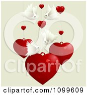 Clipart Background Of Love Birds And Suspended Hearts Royalty Free Vector Illustration
