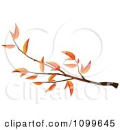 Clipart Autumn Tree Branch With Orange Leaves On White Royalty Free Vector Illustration