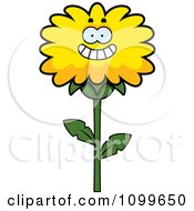 Clipart Happy Smiling Dandelion Flower Character Royalty Free Vector Illustration