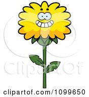 Happy Smiling Dandelion Flower Character