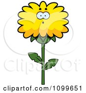 Clipart Surprised Dandelion Flower Character Royalty Free Vector Illustration by Cory Thoman