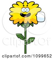 Clipart Talking Dandelion Flower Character Royalty Free Vector Illustration