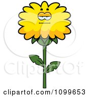 Clipart Bored Dandelion Flower Character Royalty Free Vector Illustration by Cory Thoman