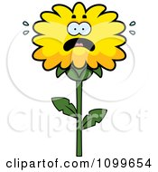 Clipart Scared Dandelion Flower Character Royalty Free Vector Illustration by Cory Thoman