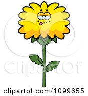 Clipart Drunk Dandelion Flower Character Royalty Free Vector Illustration by Cory Thoman